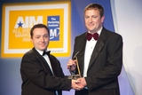 Jonnie Cahill, 02, sponsor of the Advertising Campaign Award, with award winner, Aengus King, Coca-Cola Ireland