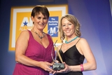 Carolan Lennon, Vodafone, sponsor of the Marketing Innovation Award, with award winner, Aoife Davey, Gift Voucher Shop