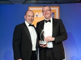 Damian Devaney, O2, sponsor of the New Product New Market Award, with award winner, Pat Mannion, JCDecaux