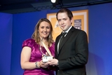 Rhona Bradshaw, UPC sponsor of the e-Marketing Award, with award winner Eoin Ó Súilleabháin, Bord Gáis Energy