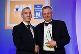 Dermot Mulligan, Bord Gáis Energy (sponsor of the CRM  Customer Care Award) with award winner William Sparkes, AXA Insurance