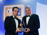 Geoff Lyons, Irish Independent (sponsor of the All Ireland Marketing Champion Award), with award winner Denis O'Brien.