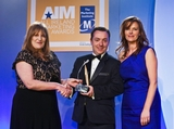 Grainne Rothery, Marketing Age (sponsor of the Sponsorship Management Award) with award winners Jonnie Cahill and Jill Keene, O2 Ireland