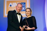 John Anslow, Meteor (sponsor of the Brand Campaign of the Year Award), with award winner Aoife Hall, Coca-Cola Ireland