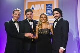John Boyle, Ulster Bank (sponsor of the Small Business  Marketing Award) with award winners Robert White, Laura Nolan and Declan White, Eurieka IT Services