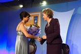 Marie Therese Campbell presents bouquet to President McAleese