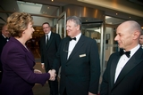 President Mary McAleese greeted by John Conmee and John Clifton, Burlington Hotel