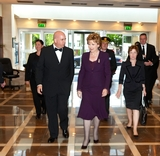 President Mary McAleese greeted by Tom Trainor on arrival
