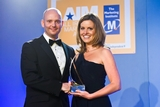 Russell Keating, Sony Ericsson (sponsor of the PR Campaign Award), with award winner Sarah Williams, Arnotts