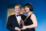 Colin Lewis, 118 Directory Enquiries (sponsor of the PR Campaign Award), with award winner Emma Kiernan, Dublin Zoo.