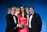 Eamonn Ó hArgáin, Foras na Gaeilge (sponsor of the Gradam Gnó as Gaeilge) with award winners Maeve O'Connell and Diarmuid O'Leary, Independent Star