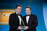 Geoff Lyons, Irish Independent presenting award to Liam Casey, PCH International, All Ireland Marketing Champion 2012