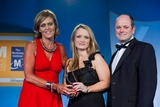 Geraldine O'Leary, RTÉ Media Sales (sponsor of the Sponsorship Management Award) with award winners Maighread Cremin and Des O'Mahony, SuperValu