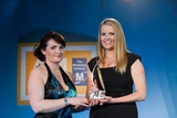 Michelle Murphy, Sony Mobile Communications (sponsor of the Integrated Marketing Award), with award winner Maebh Gleeson, The National Lottery