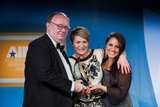 Paul O'Sullivan, DIT (sponsor of the Corporate Social Responsibility Award), with award winners Gill Waters and Paula MacSweeney, Today FM