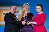 Philip O'Meara, Kerry Foods (sponsor of the CRM  Customer Care Award) with award winners Rosie Boylan and Sarah Pritchard, Vodafone Ireland.
