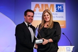 Geoff Lyons, Irish Independent (sponsor of the All Ireland Marketing Champion Award), with award winner, Lorraine Twohill, Google
