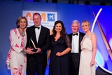 Geraldine O'Leary, RTÉ Media Sales (sponsor of the Sponsorship Management Award) with award winners,  Liberty Insurance