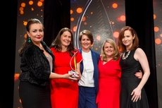 Fiona Heffernan, An Post Commerce, sponsor of the Loyalty Marketing Award, with award winners, Three Ireland